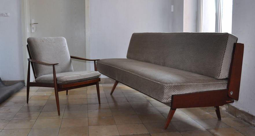 Org 60er jahre wilhelm knoll antimott teak garnitur sofa for Sofa 30er jahre